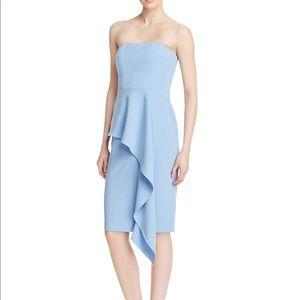 Black Halo Blue Blythe Ruffle Strapless Dress 4